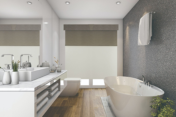 Bathroom blinds covering bathtub