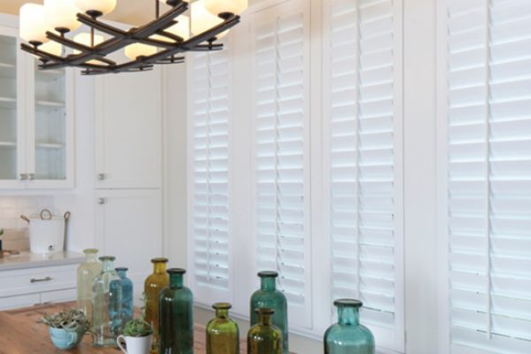 Shutters closed above kitchen table