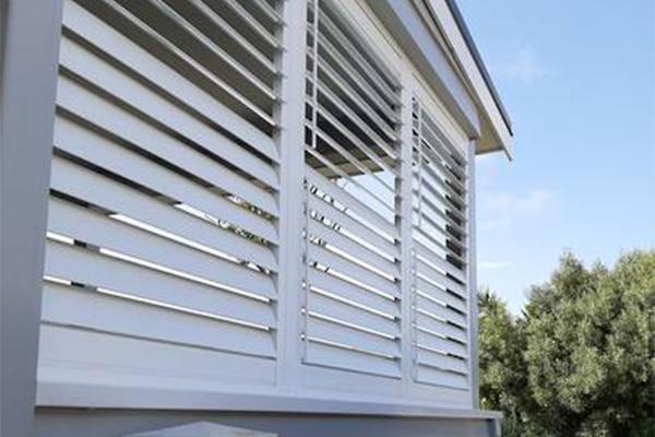 Corner exterior shutters slightly open