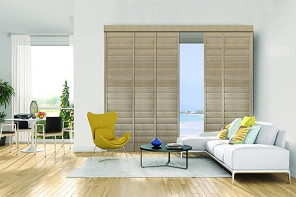 Modern interior shutters render