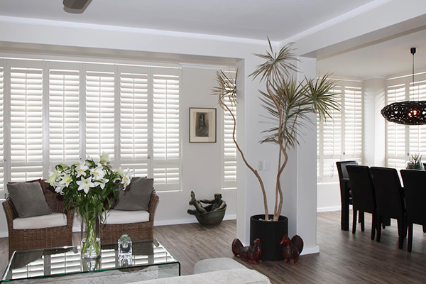 Modern dining/living room with shutters on all windows