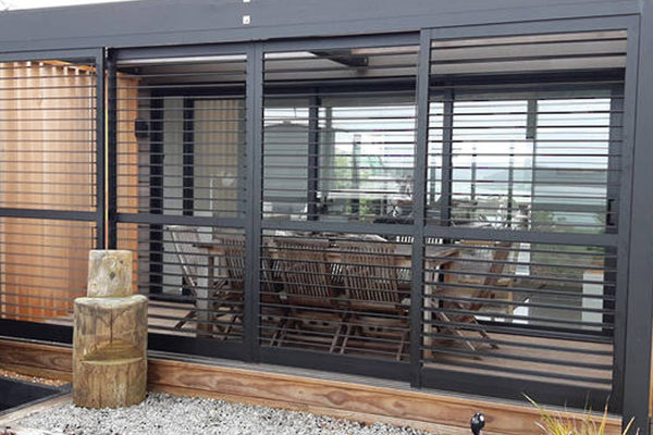 Deck with table shutters open